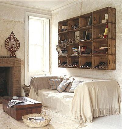 Estanter as y otros muebles reutilizando cajones para frutas - Mesas hechas con cajas de madera ...