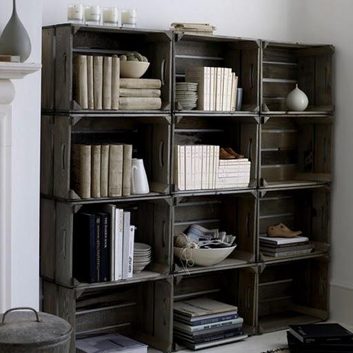 Estanter as y otros muebles reutilizando cajones para - Estanterias con cajas de fruta ...