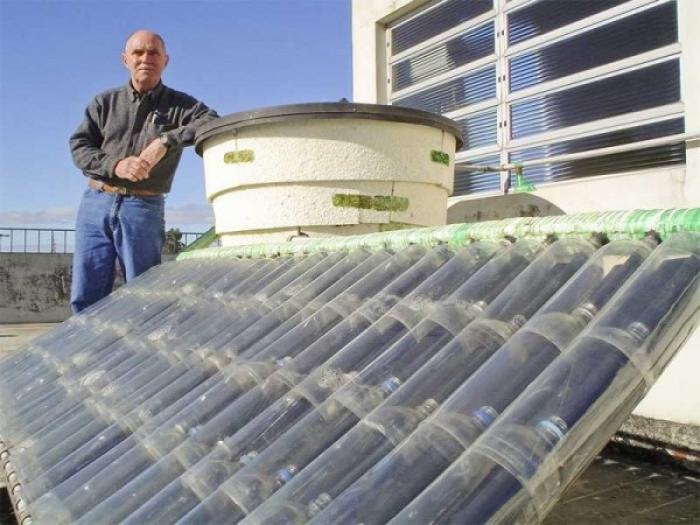 calentador solar con botellas de plástico