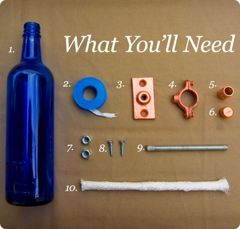 Materiales para fabricar tu propia antorcha usando una botella vacía