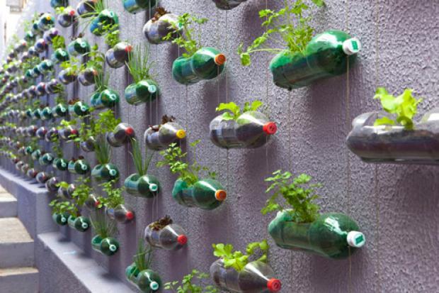 un jardin colgante con botellas pet