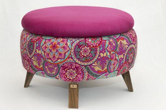 Reciclado de neum ticos para sillas mesas y puffs - Mesa de centro con puff ...