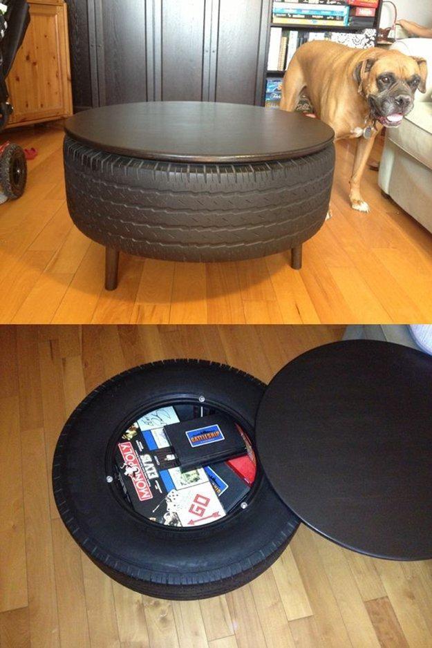 reciclado de neumáticos mesa de centro