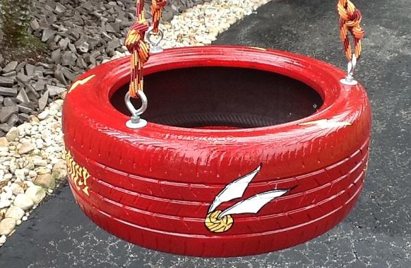 reciclado de neumáticos para columpios