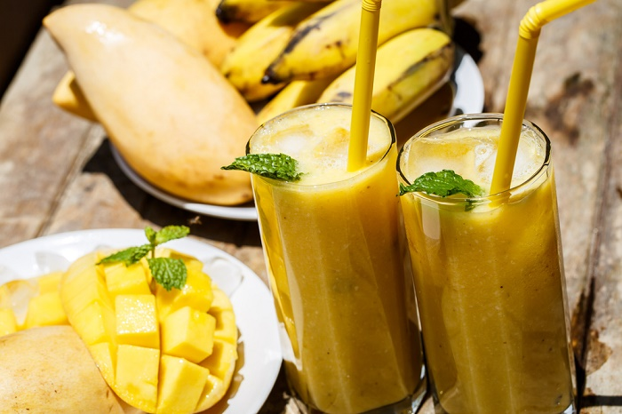 licuado de mango y plátano contra el cansancio