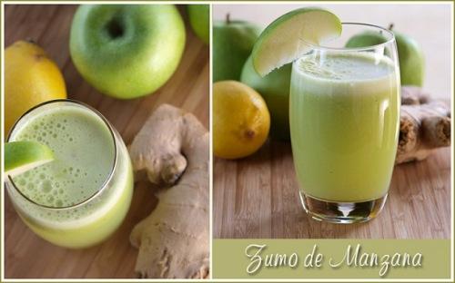 curación con zumo de manzana vaso