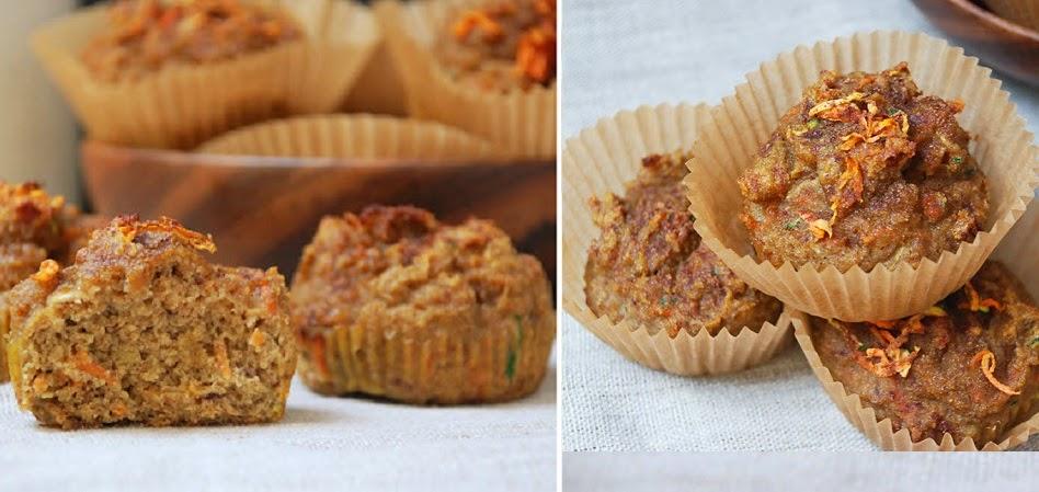 Deliciosos Muffins con harina de coco, zanahoria, calabaza