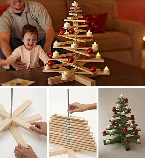 árbol navideño con tablas