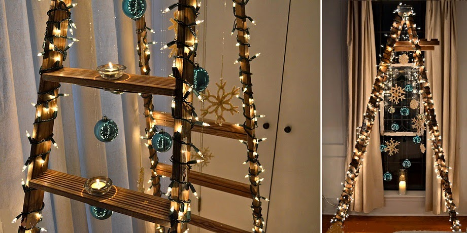 árbol para navidad en escalera