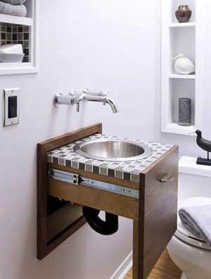 Lavabo o pileta plegable para el baño