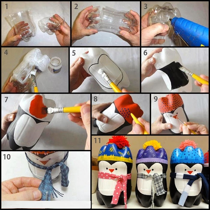 botellas para hacer pingüinos