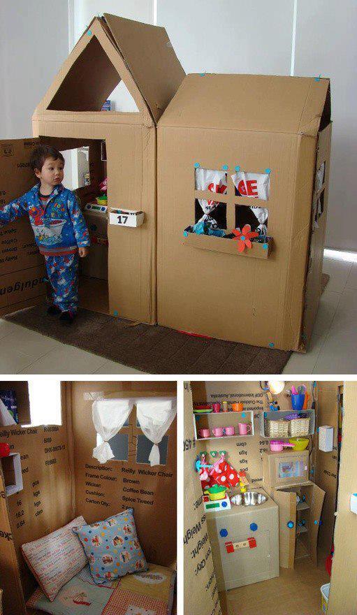 Juguete casita de cartón