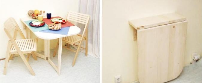 ahorrar espacio en la cocina con mesa desmontable