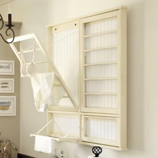 ahorrar espacio en la lavandería con mueble para secar ropa