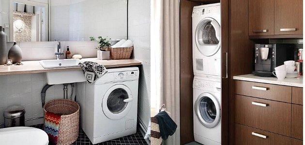 ahorrar espacio en la lavandería poniendo la lavadora debajo de la barra