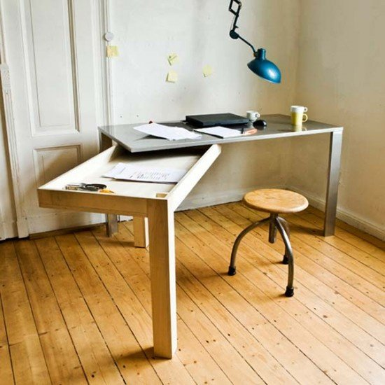 ahorrar espacio en la oficina con mueble que se pliega haciéndose más grande