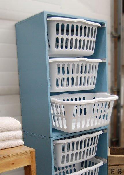 mueble para organizar ropa en lavandería
