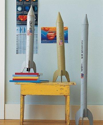 cohetes cartón reciclado