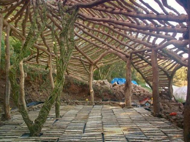 casa hobbit madera estructura