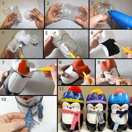 pingüinos botellas de plástico