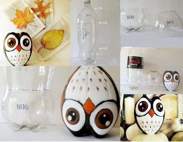 Owl Out of Soda Bottle