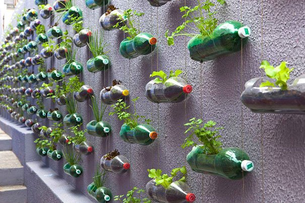 jardín vertical con botes de plástico