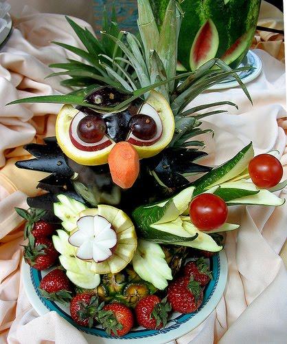 Animal recreado con esta ensalada de frutas