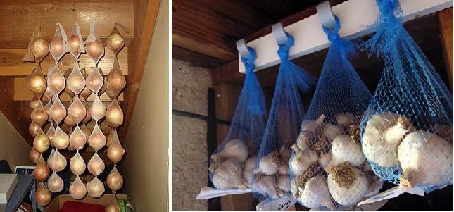 Cebollas y ajos almacenados