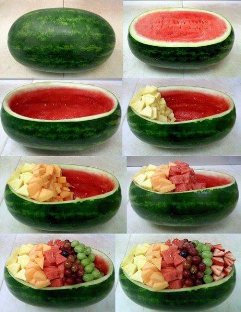 sandía para crear ensaladas de frutas