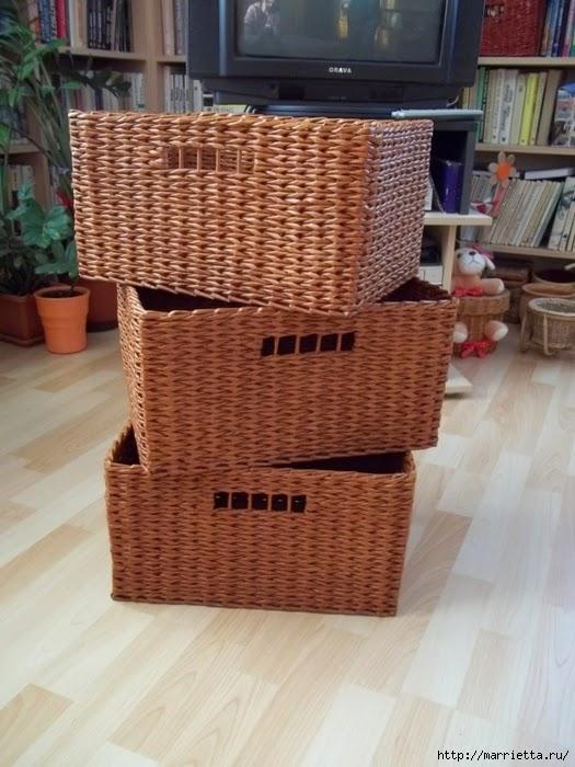 C mo realizar una canasta tejida estilo mimbre - Como forrar cestas de mimbre ...