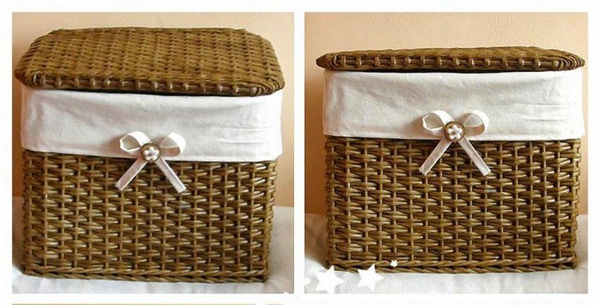 C mo realizar una canasta tejida estilo mimbre - Reciclar cestas de mimbre ...