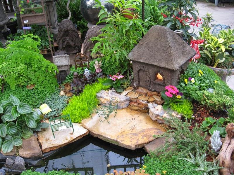 jardn imitando un pequeo estanque de agua repleto de hermosas platas decorativas alrededor de una pequea casita de campo