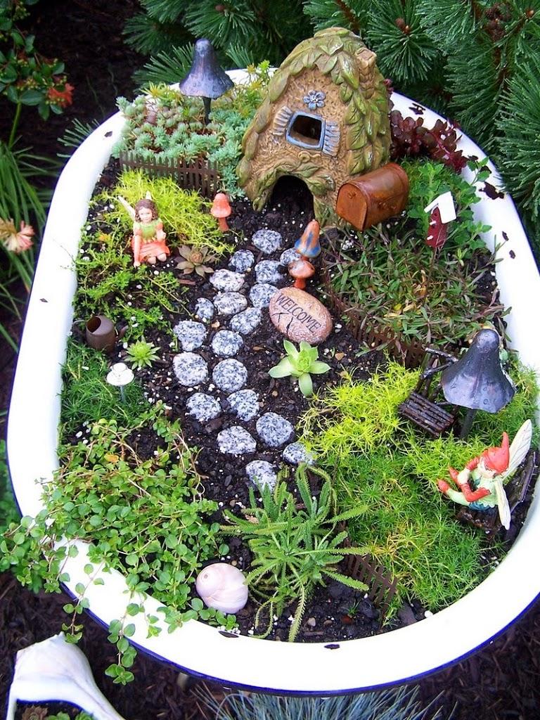 jardn de hadas en baera lo lindas plantas y piedras