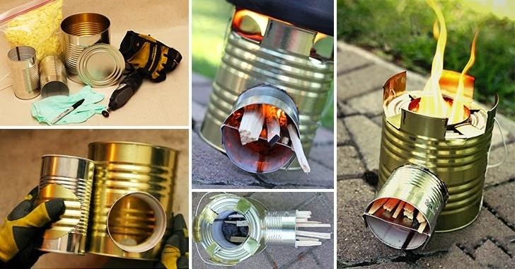 Un pequeño calentador portátil con latas recicladas