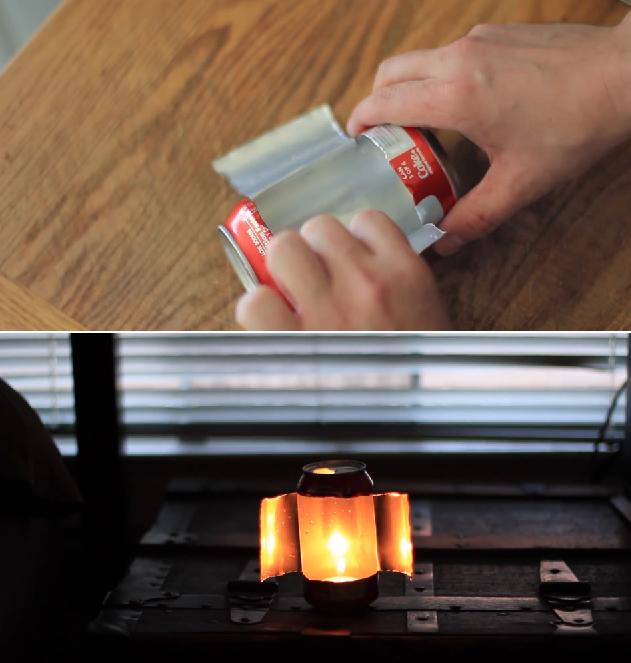 Consejos de supervivencia número 1 - Lata de refresco para hacer durar más tiempo una vela.