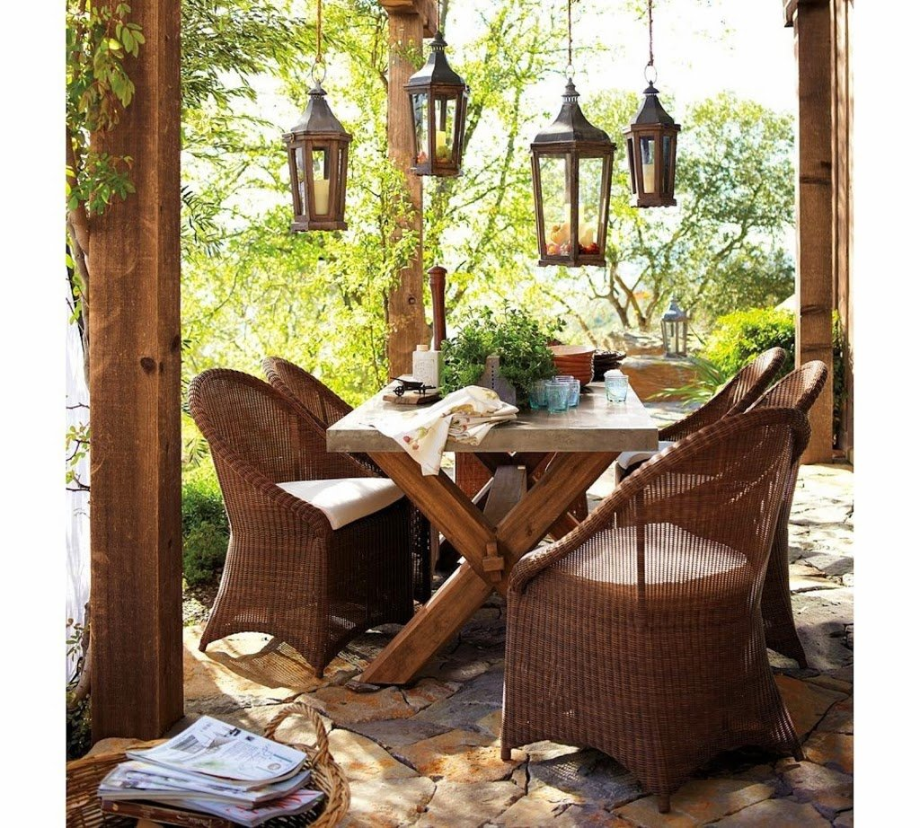 25 ideas de dise os r sticos para decorar el patio - Lamparas de terraza y jardin ...