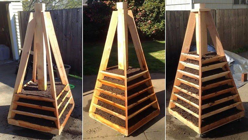 C mo hacer una jardinera en forma piramidal para ahorrar for Jardinera de madera vertical