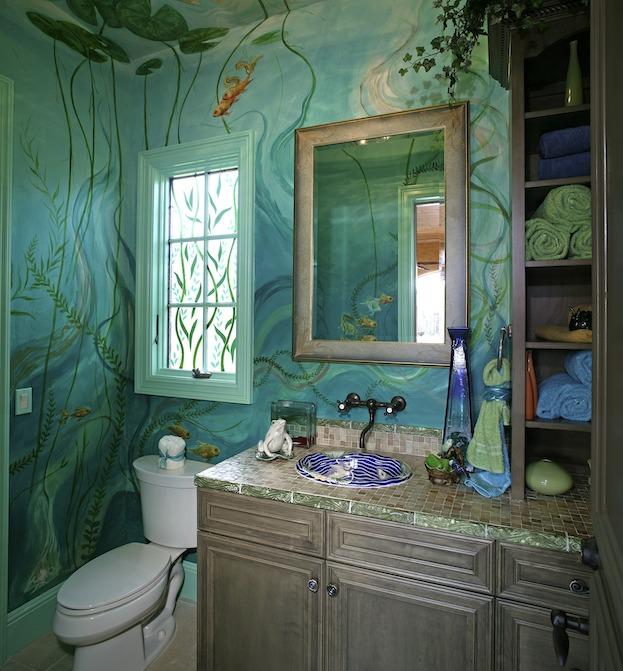 decorar un baño pequeño con tema acuático
