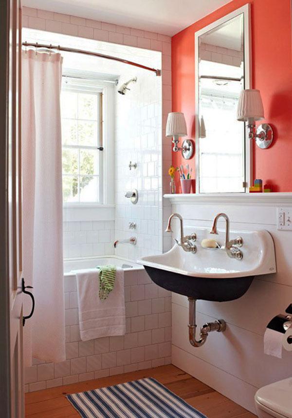 decorar un baño pequeño con colores vivos y mucha luz