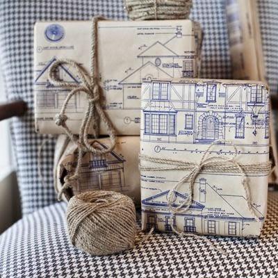 decorar regalos con copias de planos