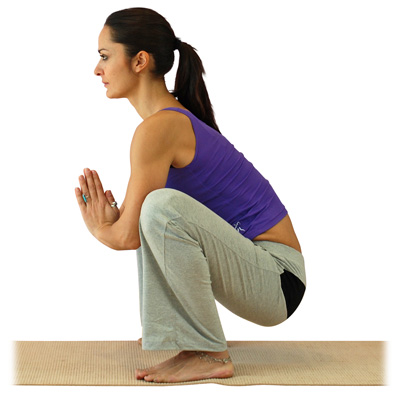 postura de yoga sentadilla