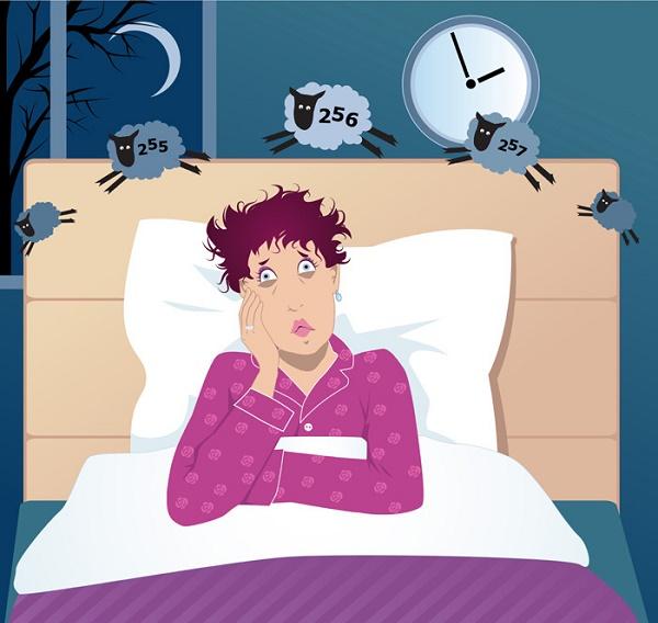 sobre la menopausia ilustración de mujer con insomnio