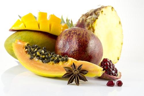 jugo de piña, papaya y melón
