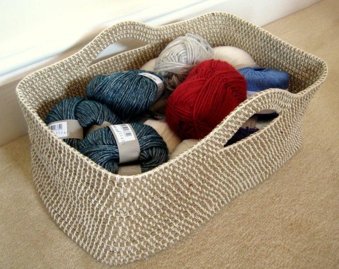 tejido a crochet para canasta