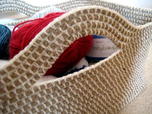 crochet canasta de cuerda