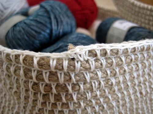 canasta terminada a crochet