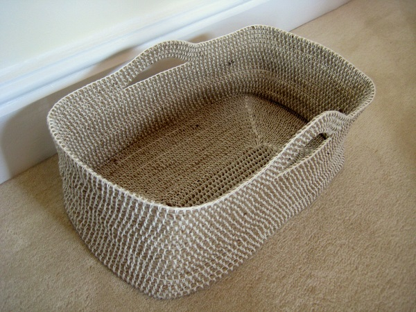 Tejido a crochet para hacer una canasta - Cesta de cuerda y ganchillo ...
