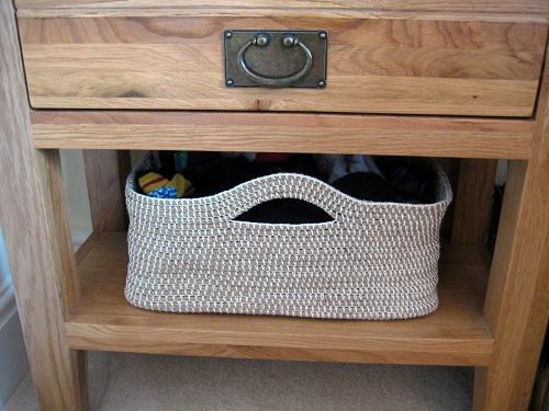 canasta de cuerda a crochet
