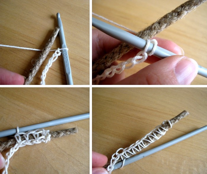 pasos para hacer a crochet canasta