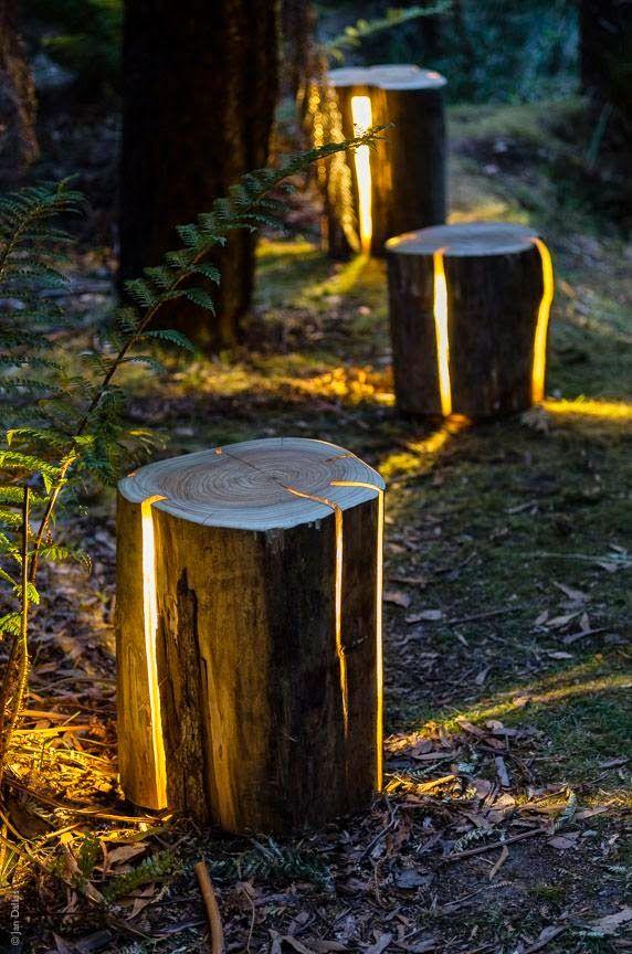 luces elementos jardín